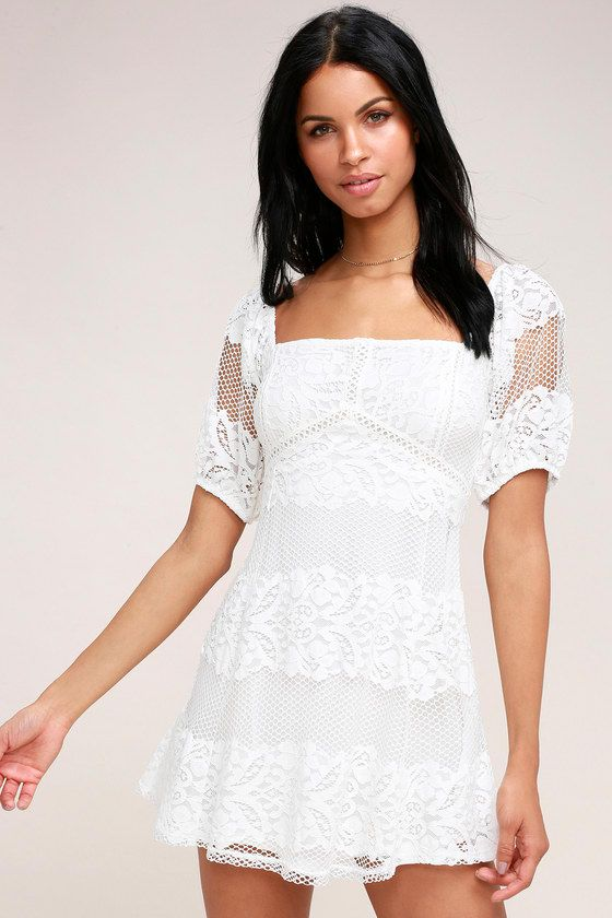 9953e070b3a Be Your Baby White Lace Babydoll Dress | Fashion - Spring | Lace ...