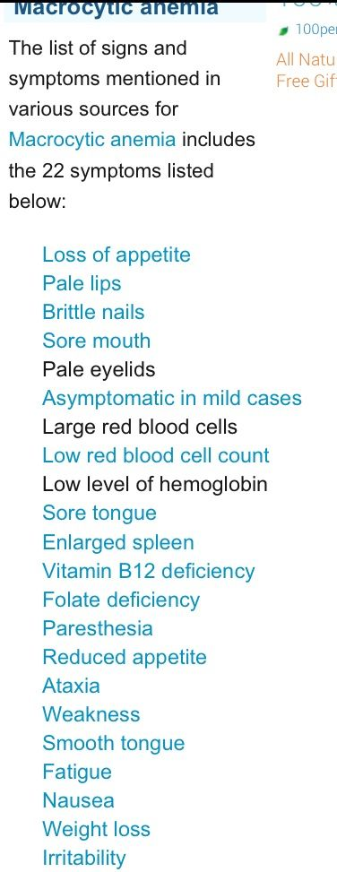 Signs of macrocytic anemia