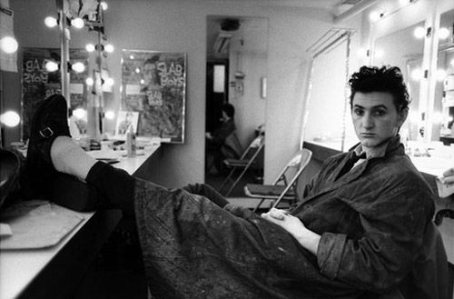 Sean Penn in his dressing room for the Broadway play Slab Boys, 1983.
