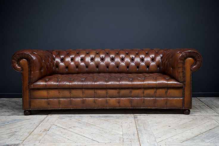 Chocolate Brown Leather Horse Hair Stuffed Chesterfield