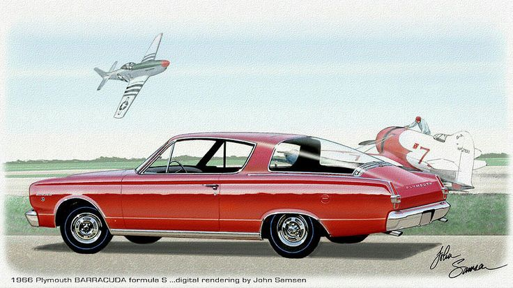 1966 Barracuda  Classic Plymouth Muscle Car Sketch Rendering