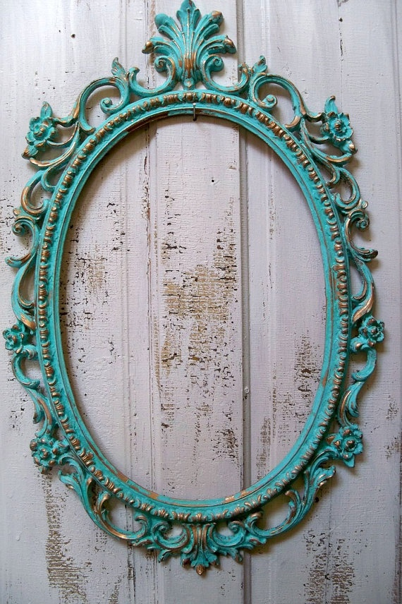 Calypso blue frame large ornate hand painted by AnitaSperoDesign, $130.00