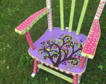 Kids Rocking Chair, Custom Painted Kid Rocking Chair, Hand Painted Rocking Chair, Toddler Rocking Chair, Personalized Rocking Chair