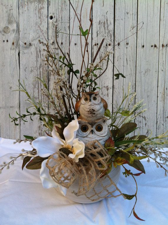 Owl flower centerpiece fall table