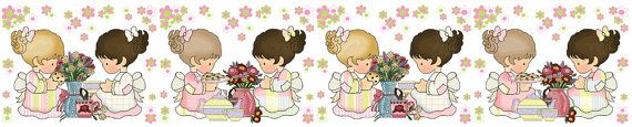 Tea Party Girls Wall Border Decals for baby nursery or kids room decor - pink and green flowers #decampstudios https://www.etsy.com/listing/161934000/tea-party-girls-wall-border-decals-baby