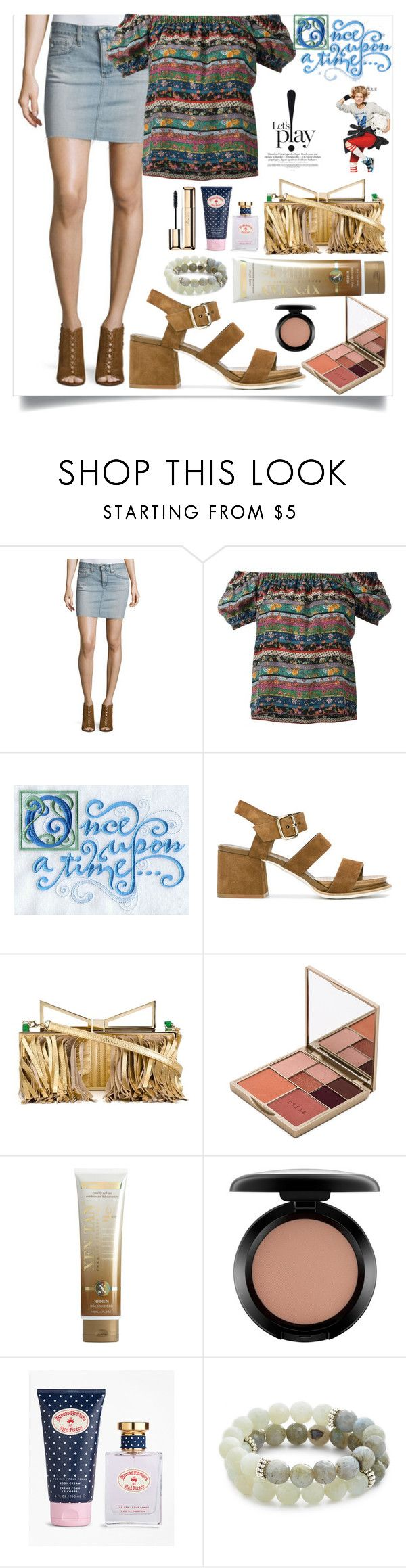 """""""Denim Skirt"""" by camry-brynn ❤ liked on Polyvore featuring AG Adriano Goldschmied, Philosophy di Lorenzo Serafini, Once Upon a Time, Tod's, Sara Battaglia, Stila, Xen-Tan, MAC Cosmetics, Brooks Brothers and Lacey Ryan"""