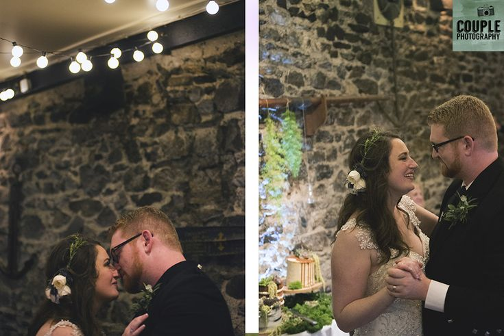 The bride & groom have their first dance. Wedding in The Abbey Tavern, Howth. Photographed by Couple Photography.