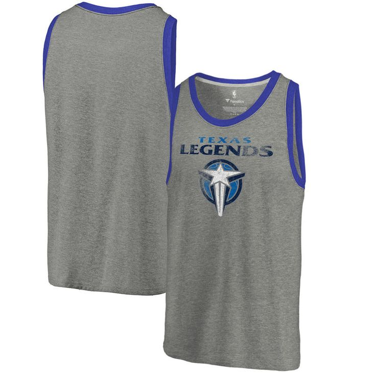 Texas Legends Fanatics Branded Distressed Primary Tri-Blend Tank Top - Heathered Gray