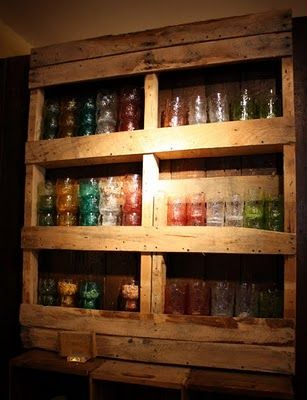 Pallet shelves...S'Mores Bar, Pallet Shelves, Pallets Shelves, Wooden Pallets, Pallet Ideas, Pallets Ideas, Wood Pallets, Old Pallets, Pallets Projects