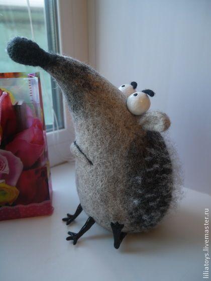 Озадаченный Ёжик - ежик,серый,игрушка ручной работы,игрушка из шерсти