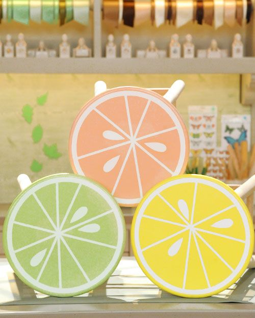 Decorate a plain wooden stool with a bright citrus pattern using this stencil template from Martha Stewart Living.