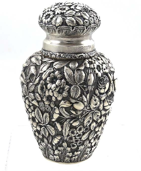 Stieff repousse sterling tea caddy