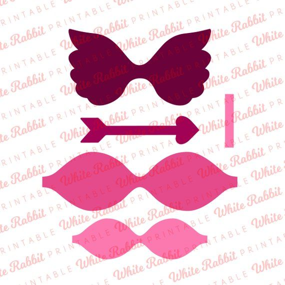 Cupid Wings And Arrow Bow Template:Digital File, SVG Bow