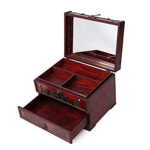 Wooden Jewelry Box Vintage Carved Ring Necklacel Gift Storage Box Organizer NEW #Charminer