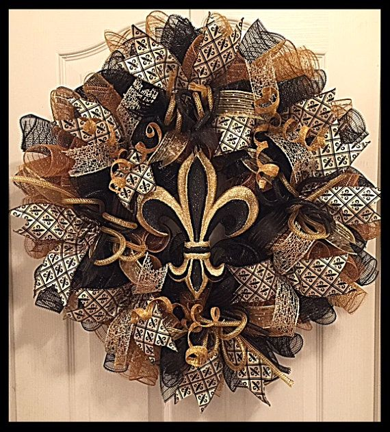 Fleur de Lis Deco Mesh Wreath/New Orleans by CKDazzlingDesign