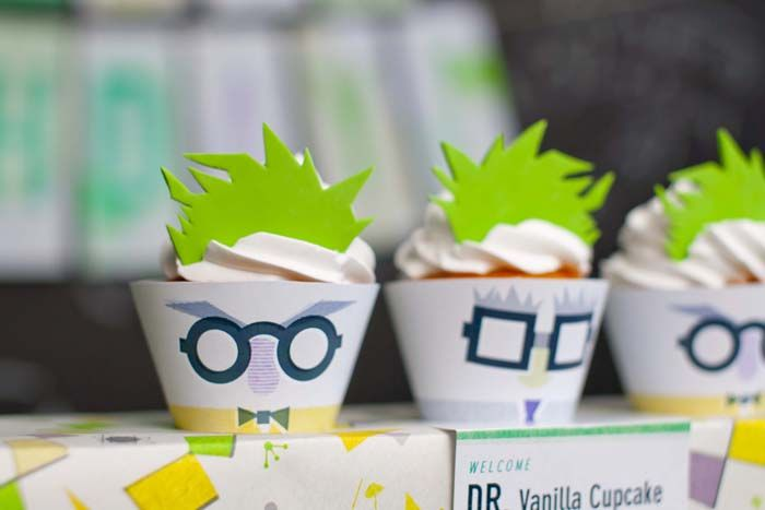 Mad Science Dessert Table Mad Scientist cupcakes