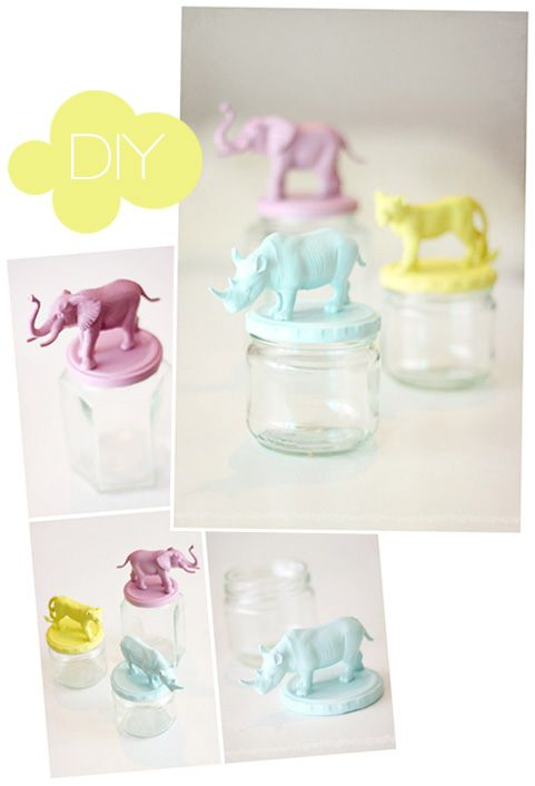 DIY Fun Lids!  Yes, its a childrens project, but I still love the idea of utilizing radomness in the kitchen, laundry room, craft room, or bedroom!