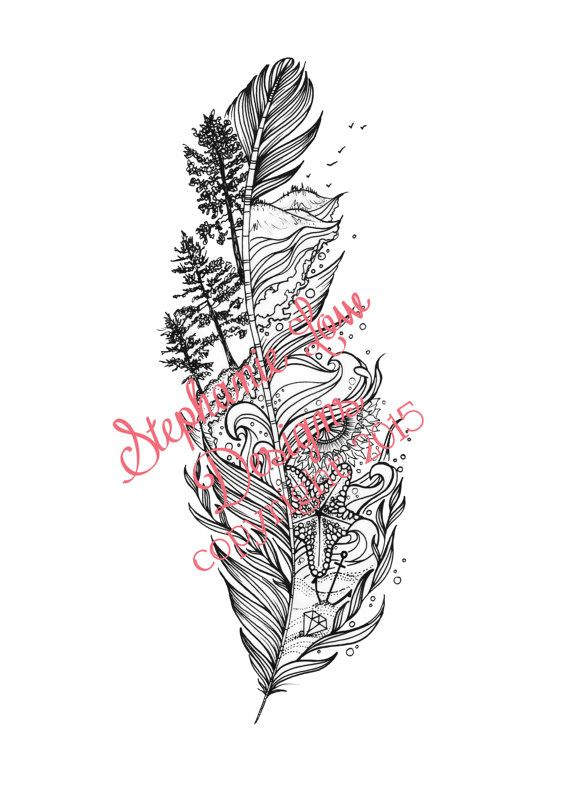 Custom Tattoo Illustration by Stephanie Low; Feather design inspired by a beloved park and underwater life. https://www.facebook.com/StephanieLowDesigns kepeann@gmail.com feather tattoo, aquatic tattoo, oceanic tattoo, nature tattoo, mother earth tatoo