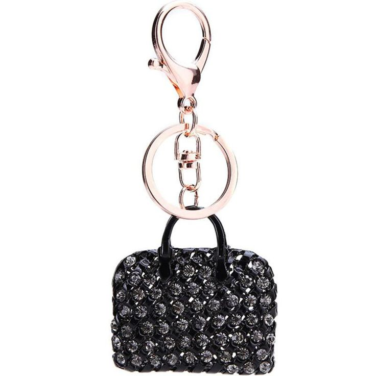 """#Porte-clés bijoux Style Créateur #cristal en forme de """"Sac à main Mode"""" ,Noir en Alliage de zinc style plaqué or rosé pour femmes."""