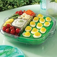 Cool and serve tray. Could use this for kids birthdaya party for devil eggs.