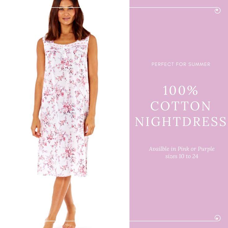 Helena 100% cotton Floral Print Sleeveless Nightdress - Pink - Purple 10 to 24