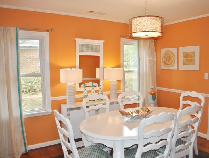 Dining Room Orange Inspired Design Ideas With White Lacquered Wood Sets