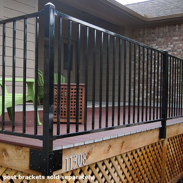 Fe26 Iron Fascia Post By Fortress Outdoor Stair Railing Railings Outdoor Metal Deck Railing