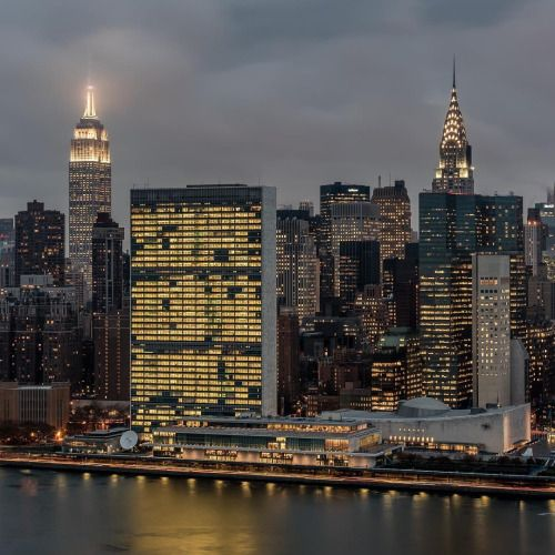United Nations and Manhattan skyline on a cloudy evening today b