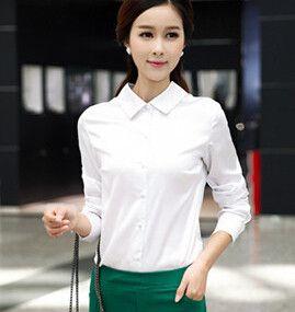 New 2017 Autumn Gray Womens Work Shirts Long Sleeve Fake Silk Blouse Ladies Formal Tops Casual Fashion Blusas Femininas