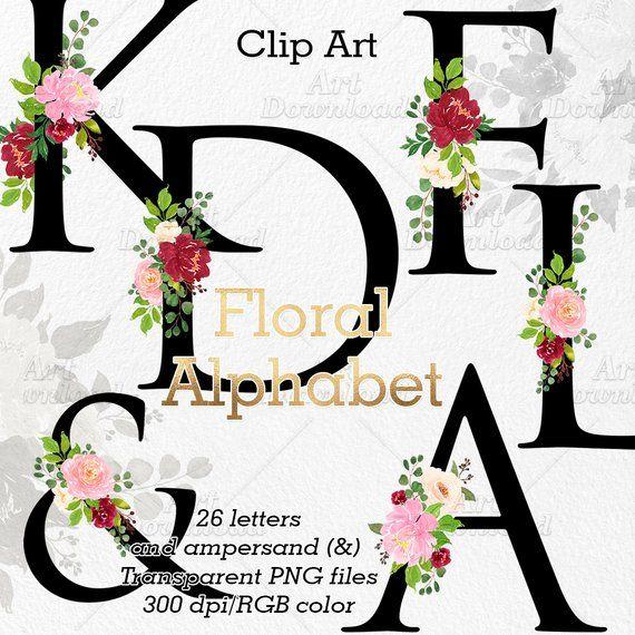 Clip Art Floral Alphabet Wedding Monogram Letters Floral