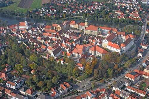 Neuburg an der Donau, literally Newcastle on the river Danube, is a town which is the capital of the Neuburg-Schrobenhausen district in the state of Bavaria in Germany.  On 30 June 1972, Neuburg an der Donau became a Grosse Kreisstadt (similar to a county seat) and was passed to Upper Bavaria region.