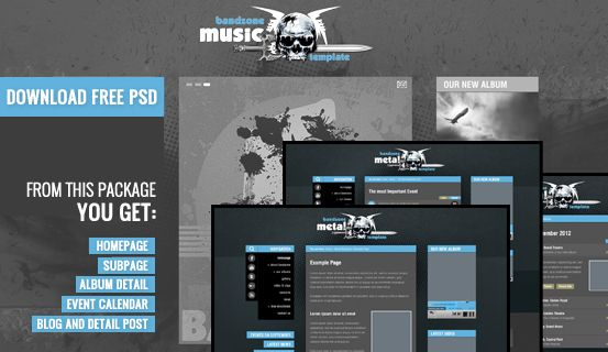 Feel #free to use for your own project this #PSD files of Bandzone #WordPress Theme. Package includes layered 6 PSD files of Homepage, Subpage,Event Calendar, Album Detail, Blog and Detail Post.