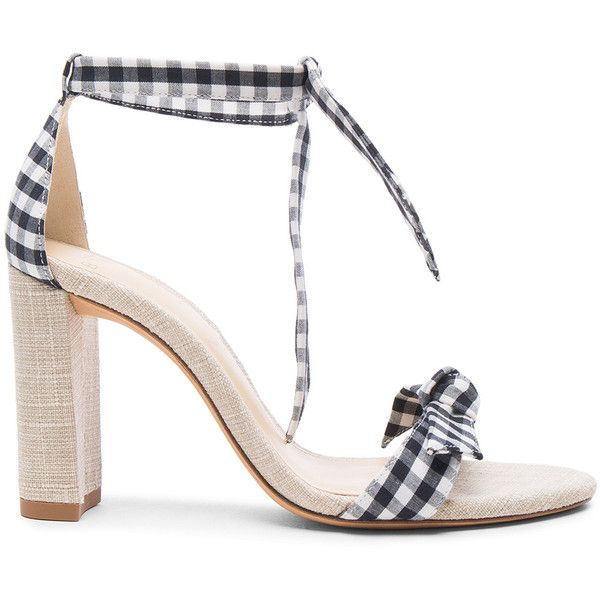 Alexandre Birman Canvas Gingham Clarita Heels (£395) ❤ liked on Polyvore featuring shoes, pumps, heels, alexandre birman shoes, high heel shoes, ankle wrap pumps, ankle wrap shoes and ankle strap pumps