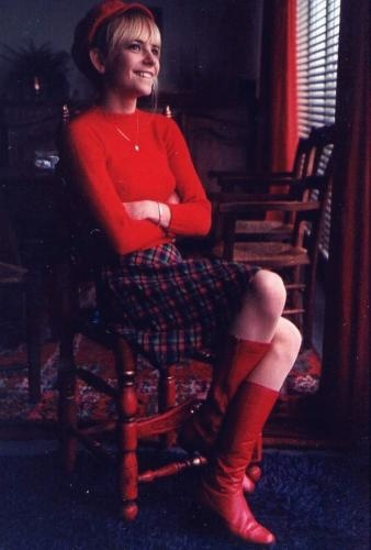 The singer France Gall circa 1960s.  The skirt and beret are perfect.