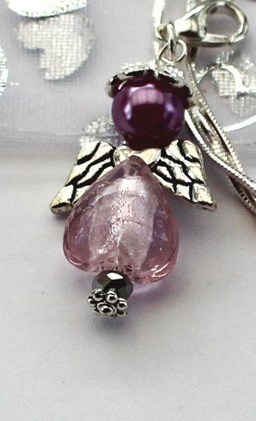 Halsband - Ängel - Rosa med krok - 925 siiver kedja