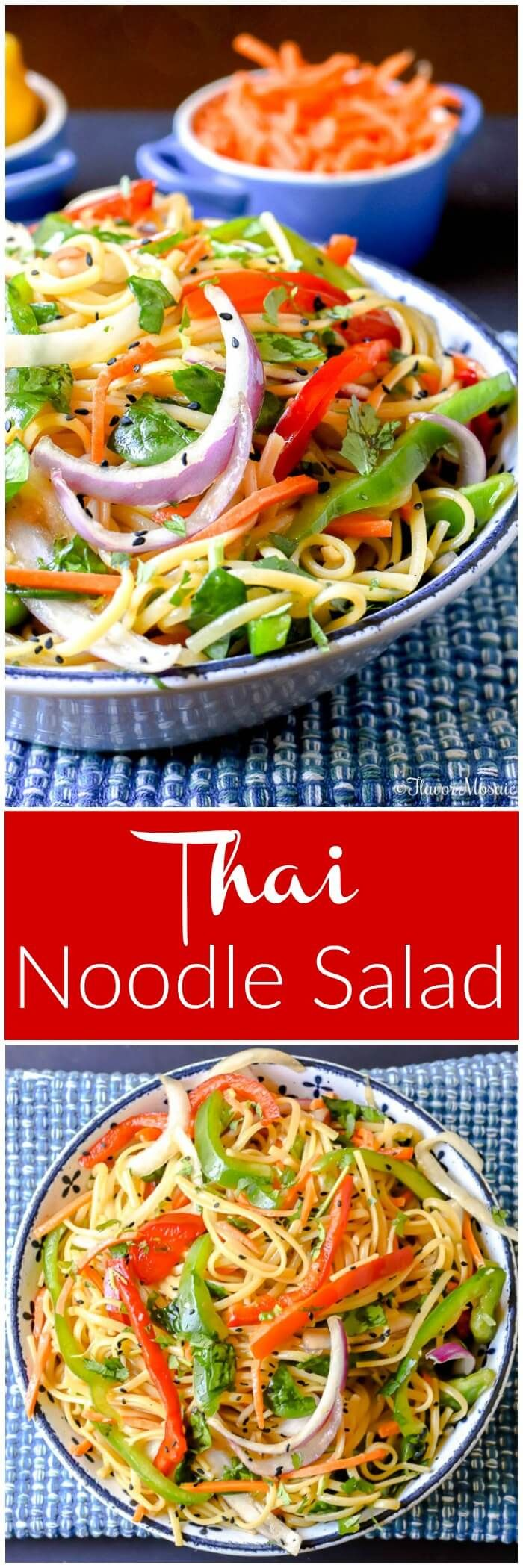 This Thai Noodle Salad is full of flavor and vegetables, can be served hot or cold, and has just enough of a kick to get your attention at any BBQ, potluck, or picnic. via @flavormosaic