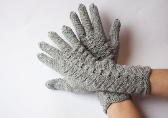 Hand Knitted Gloves Gray Elegant Arm Warmers Gloves by DriadaD, $45.00