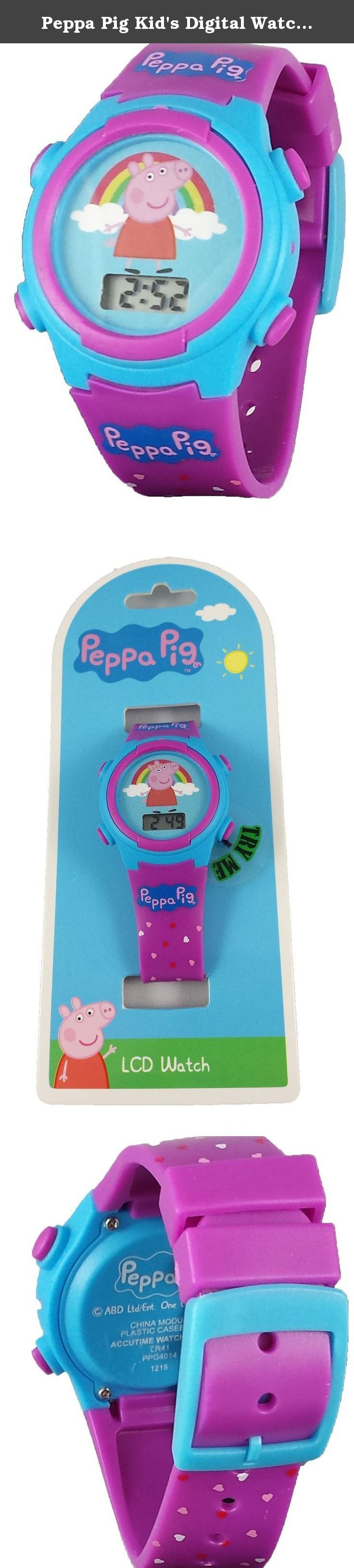 "Peppa Pig Kid's Digital Watch with Light Up Feature. This is a cute kids watch that has Peppa pig on the dial with a rainbow.The watch also lights up in red,green, and yellow across the entire face for 10 seconds with the push of the corner button. The band is adjustable with a buckle clasp and has hearts throughout the whole thing in addition to having the words""Peppa Pig"" above and below the face."
