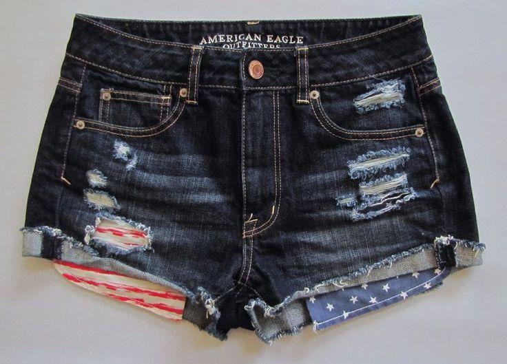 American Eagle Denim Shorts 6 Flag Patriotic Festival Hi Rise Destroyed Shortie #AmericanEagleOutfitters #Denim