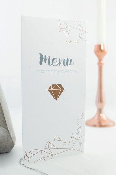 Hochzeitskarten - Menükarte Kupfer diamant - ein Designerstück von HERZ-Blatt-com bei DaWanda