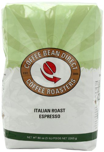 Coffee Bean Direct Italian Roast Espresso, Whole Bean Coffee, 5-Pound Bag - http://goodvibeorganics.com/coffee-bean-direct-italian-roast-espresso-whole-bean-coffee-5-pound-bag/