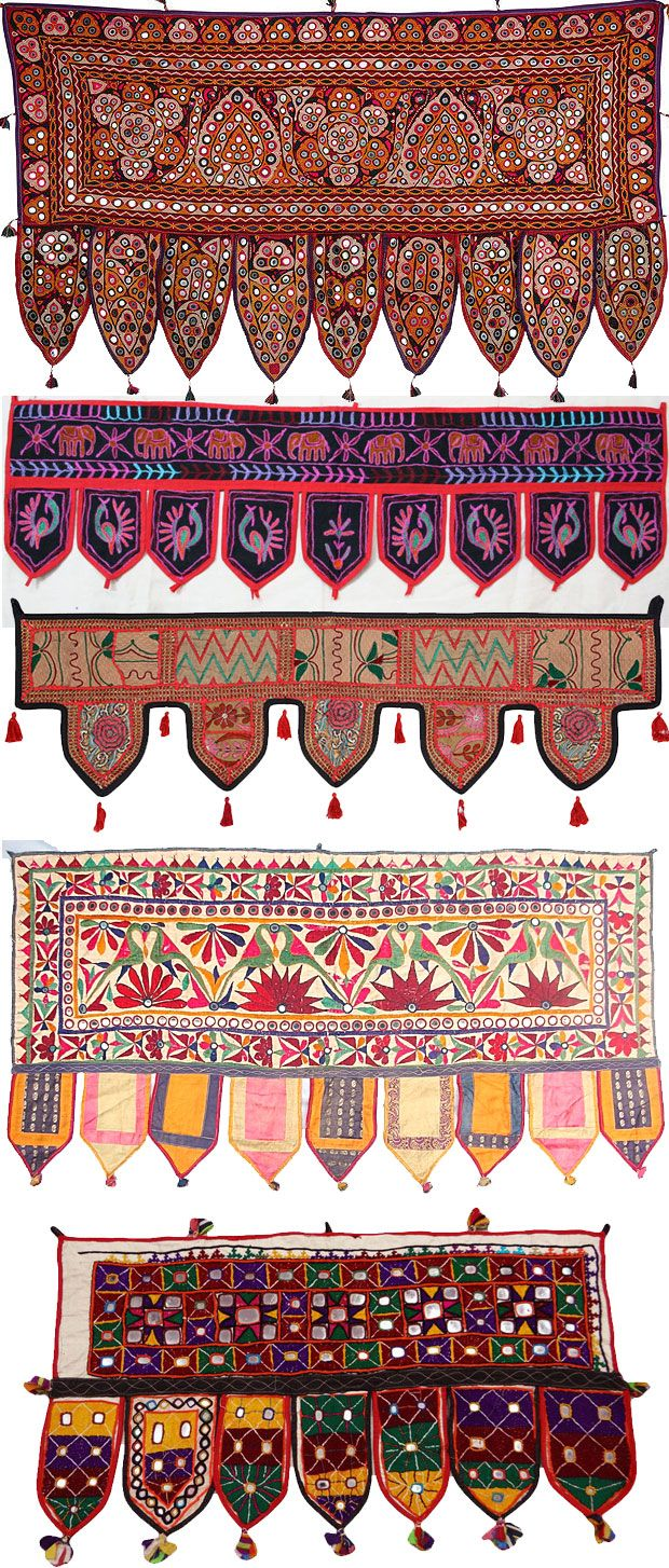A toran is a decorative door hanging in Hinduism.  The word toran (or torana) originally referred to sacred gateways in Indian architecture.