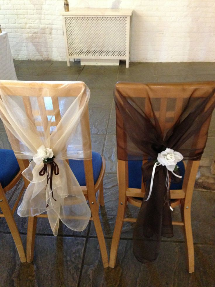 Organza Chair Hoods in Ivory and Chocolate Brown at Ufton Court