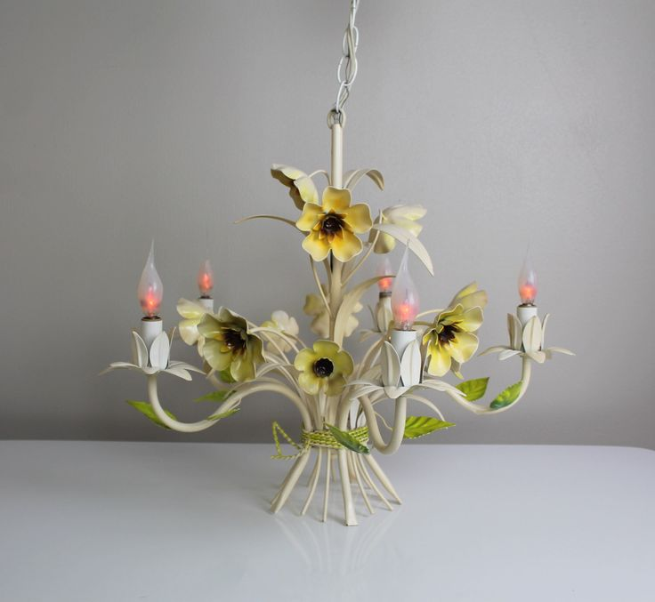 Vintage Italian Tole Chandelier Vase With Flowers And Leaves Ceiling Light