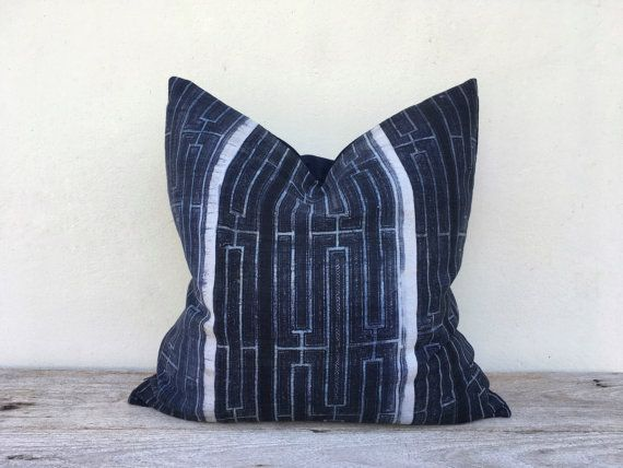 "Vintage Homespun Hemp Batik Hand Woven Pillow Case 20"" x 20"" Pieces Of Tribal Costume, block print pillow, minimalist pillow, shibori pillow"