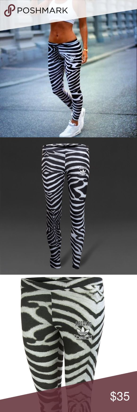 Classic Adidas Zebra Leggings Original Trefoil Classic Adidas - Zebra Leggings  Original Trefoil Design. Super Cute Black & White. Women's / Ladies - Size Small S Keywords - Yoga / Casual / 80's Run DMC / Throwback Logo. Gently Worn. No Flaws.   Please FOLLOW ME & check out the other items in my closet. BUNDLE & SAVE!! I offer a discount when items are bundled & you only pay shipping one time!! Thank you and Happy Poshing! adidas Pants Leggings
