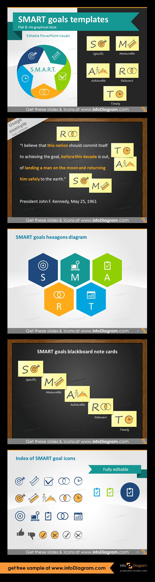 SMART goals setting graphics for business presentations. SMART goals are used in project management, in HR for increasing employee performance, business planning or personal development. Using SMART is a powerful motivation tool. SMART goals blackboard note cards and example of analysis JFK quote on mission to Moon, SMART goals hexagons diagram, index of 13 fully editable icons for all five SMART characteristics in two graphical styles.