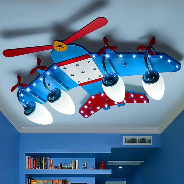 Sala de niños De Madera Avión Llevó Las Luces de Techo E14 Llevó el Bulbo de 110 V-220 V de la Historieta Moderna Llevó Las Luces Del Techo llevó La Lámpara de Techo Azul