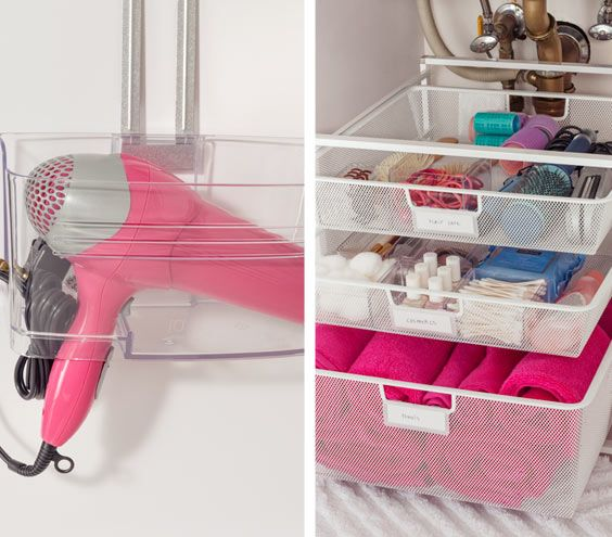 Hang your hair dryer on the cabinet door, and keep small items organized (and labeled!) in drawers. Tips from Real Simple!