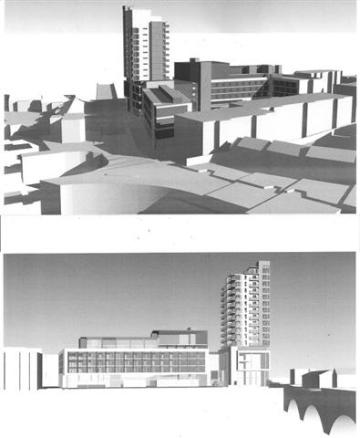 Perspective views of proposed commercial landmark development in Limirick City.